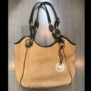 Michael Kors soft straw Tote Bag (Black Trim)